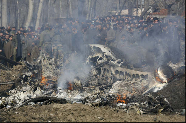 Fighter crash in Pakistan controlled Kashmir.