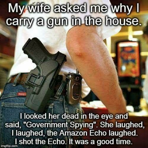 """Picture is of the side of man who has a pistol holstered on his hip. It reads: My wife asked me why I carry a gun in the house.  I looked her dead in the eye and said, """"Government spying.""""  She laughed, I laughed, the Amazon Echo laughed. I shot the echo. It was a good time."""