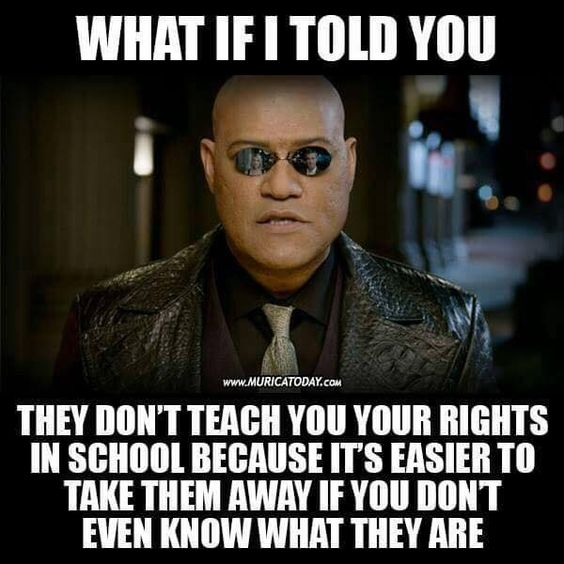 What if I told you they don't teach you your rights in school because it's easier to take them away if you don't even know what they are?