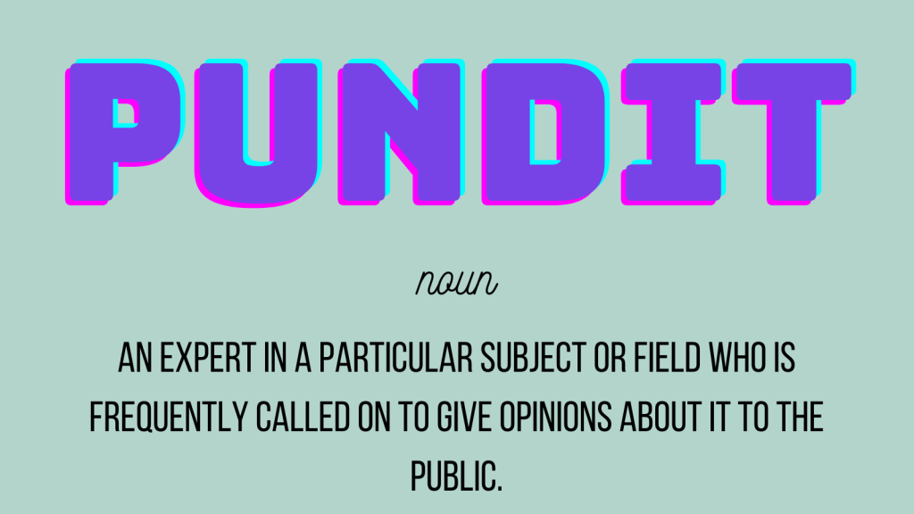 Pundit noun an expert in a particular subject or field who is frequently called on to give opinions about it to the public.